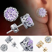 New Charm Women Elegant 925 Sterling Silver Rhinestone Crown Ear Stud Earrings (With Thanksgiving&Christmas Gift Box)= 1958391556