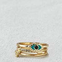 AEO Women's Arrow & Evil Eye Stacking Ring Set (Gold)