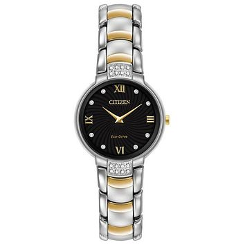 Citizen Womens Diamond Eco-Drive Watch - Two-Tone - Stainless Steel - Bracelet