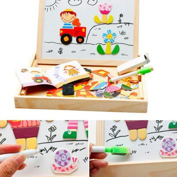 2017 New 7 Types 1 Set Multifunctional Wooden Toys Educational Magnetic Puzzle Farm Jungle Animal Children Jigsaw Drawing Board