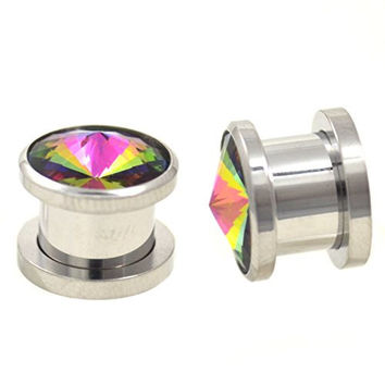 Pair of Rainbow Color Pointed CZ Gem Bling Plugs Screw On Steel Ear Gauges - 00G (10mm)