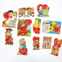 25% OFF SALE Vintage 1950s Valentine's Day cards / sweetheart gifts / Retro Hearts Paper Ephemera Lot of 11 cards