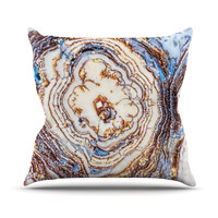 "KESS Original ""Crystal Agate"" Blue Gold Outdoor Throw Pillow"