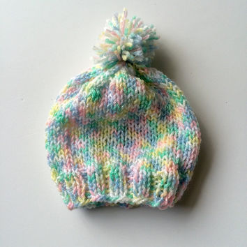 Baby colors hat - 3-6 month old hat - knitted baby yarn hat - light pink and blue hat - baby shower gift