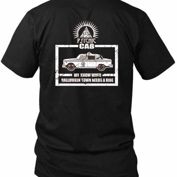 Halloween Town Psychic Cab 2 Sided Black Mens T Shirt