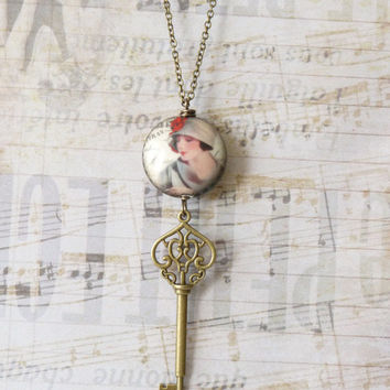 Retro Vintage Necklace, Key Pendant Necklace, Art Deco, Shabby Chic, Porcelain Bead, China, Handmade, Womens Long Necklace