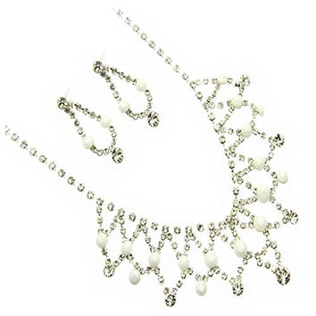 Fashion Jewelry ~Clear Crystasl W White Lucite Beads Necklace Earrings Set (CHS47982RDWHT)