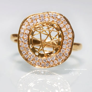 Cosmic Bliss Sphere Diamonds and 14K Gold Ring.