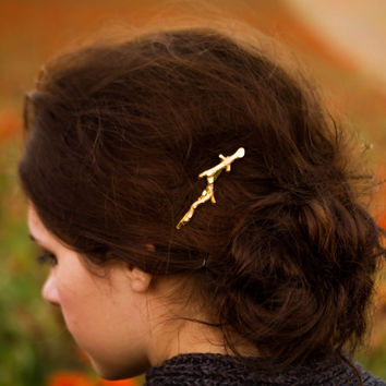 Gold Branch Bobby Pins Branch Hair Pins Gold Brass Twig Hair Pin Woodland Hair Clip