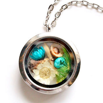 Terrarium Necklace Flowers, Moss, Branch, Pinecone Nature Jewelry Glass Locket Pendant Antique Silver Plated Chain