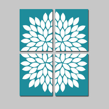 Bold Turquoise White Flourish Design Artwork Set of 4 Prints Gerbera Daisies Flowers Bedroom Wall Decor Floral Art Pictures 8x10