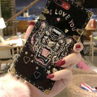 Kenzo tiger iPhone8 full bag silicone iPhone6plus protection shell 7P female hair ball female