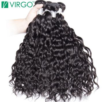 Virgo Wet And Wavy Human Hair Bundles Hair Extensions 1 Pc Malaysian Hair Weave Bundle 100% Natural Remy Hair No Tangle
