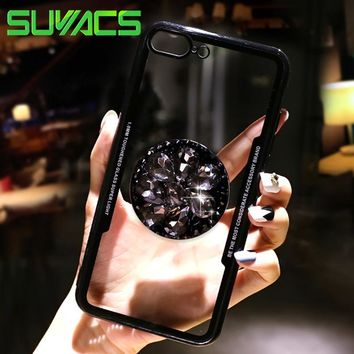 SUYACS Jewelled Kickstand Case For iPhone X 6 6S 7 8 Plus 5 5S SE NAcrylic Soft Glossy Protective Phone Back Cover Case Coque