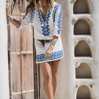 Santorini Embroided Tunic Dress - White