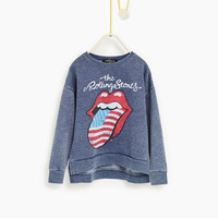 """""""Rolling Stones"""" sweatshirt - NEW IN-GIRL   4-14 years-COLLECTION AW16   ZARA United States"""