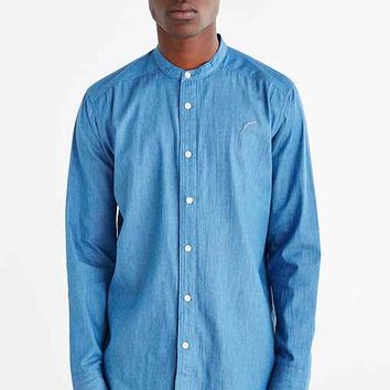 Publish Mandarin Collar Denim Button-Down Shirt- Navy