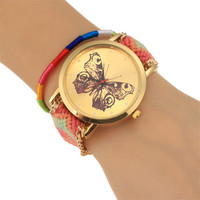 Butterfly Analog Knitted Strap Wrist Watch