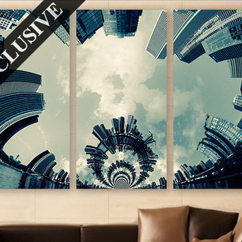 Chicago Wall Art EXTRA LARGE Canvas Print 3 Panel Art Abstract Wall Art Wall Decor Fine Art Photography Print for Home & Office Wall Art