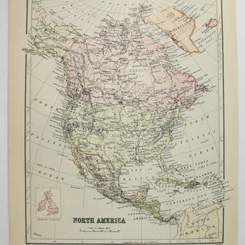 Old North America Map, South Africa Map 1875 Johnston Map, Vintage Decor Map North America, Old World Decor Gift Under 20, Africa Gift