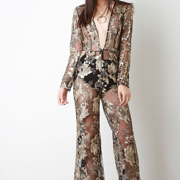 Semi-Sheer Metallic Floral Lace Jumpsuit