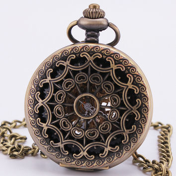 Steampunk Baroque Vintage Retro Antique Gothic Bronze Hollow Mechanical Pocket Watch Sweater Sweater Chain Clock Necklace