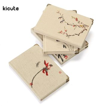 A5 Vintage Linen Book Retro Chinese Style Flower Bird Notebook Journal Diary Book Agenda Stationery Office School Supplies