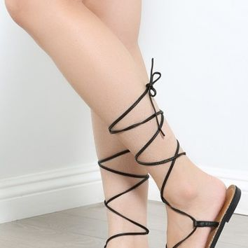 Armin-24 Leg Wrap Gladiator Sandals | MakeMeChic.com