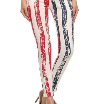 All Stripe American Flag Jeggings Pants