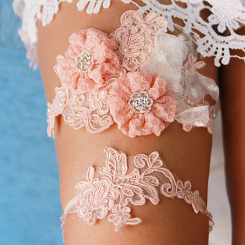 Bridal Garter Set - Wedding Garters - Keepsake Garter Toss Garter - Peach Salmon Pink Flower Lace Garters