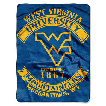 West Virginia Mountaineers NCAA Royal Plush Raschel Blanket (Rebel Series) (60x80)