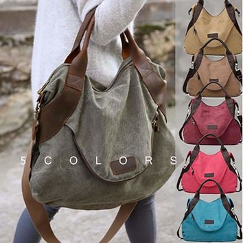 Kaki Canvas Leather Large Pocket Casual Tote