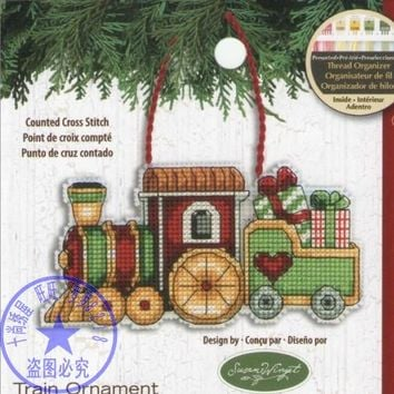 Counted Cross Stitch Kit Train Ornament Christmas Tree Ornaments Gift Dim 08897