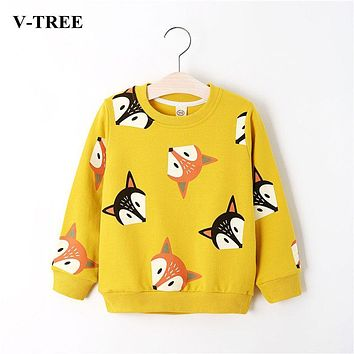 V-TREE Boys Shirts Color Cartoon T-shirt For Girl Cotton Girls Tops Child Shirt Candy Color Kids Blouse School Baby Sweatshirt
