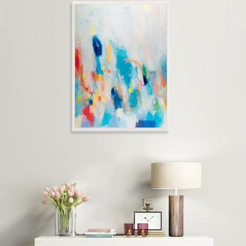 colorful abstract painting, blue abstract wall art, abstract painting for living room, Contemporary art, wall abstract by Camilo Mattis