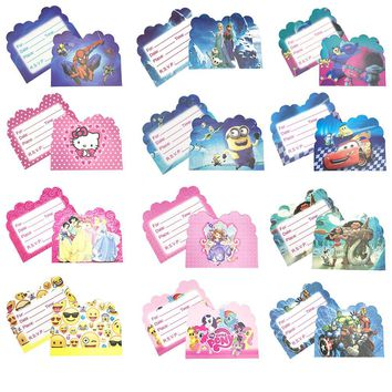 10pcs Pokemon Theme Party Paper Invitation Card Birthday Party Decorations Kids Emoji Trolls Baby Shower Supplies Party Favors