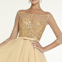 Short Prom Dress with Half Sleeves by Mori Lee