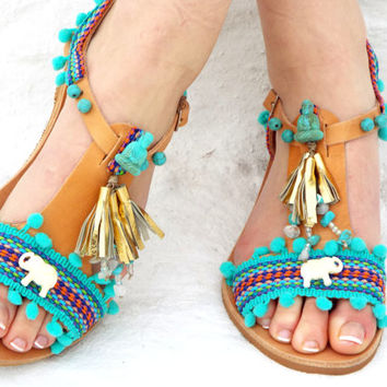 "Blue leather Sandals, boho Sandals, ""Gaia"" Ancient Greek Sandals, barefoot, hippie leather shoes, Summer shoes Valentine's gift"