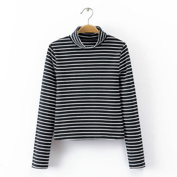 Striped Turtle Neck Long-Sleeve Shirt
