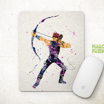 Hawkeye Mouse Pad, Avengers Watercolor Art, Mousepad, Office Decor, Holiday Gifts, Art Print, Desk Decorations, Avengers Accessories