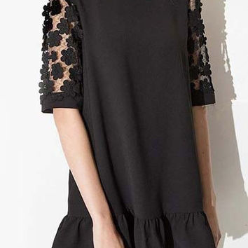 Black Half Sleeve Lace Ruffled Hem Shift Dress