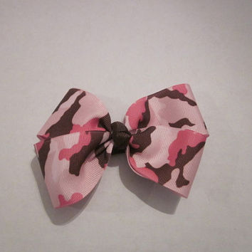 Pink Camoflauge Boutique Style Hairbow Handmade by Sweetpeas Bows & More