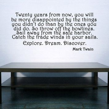 Inspirational Mark Twain Vinyl Wall Art Decal by VinylWallAccents