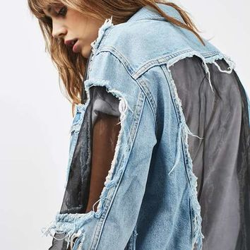 MOTO Organza Denim Jacket