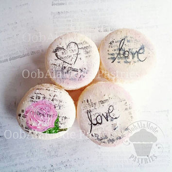 Macarons, French Macarons, Macaron, Custom Macarons, Macs, Hand Painted Macarons, Party Favors, Thank You Gift, Valentines Day, Valentine