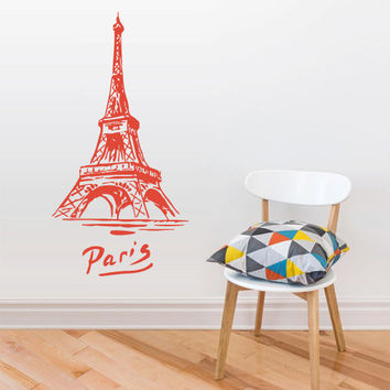 Wall Vinyl Sticker Decals Decor Art  Design Mural eiffel tower Decal Paris France Words Quote Sign Sketch Pencil (z2801)