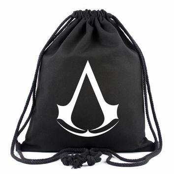 Fashion 2017 Assassins Creed Drawstring Bag Assassin's Creed Backpack 16 Colors Travel Canvas Printing School Bags For Teenagers
