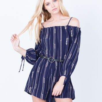 Printed Cold Shoulder Romper