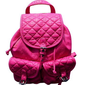 Fuchsia Faux Quilted Backpack