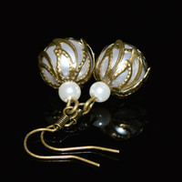 Pearl vintage style earrings boho chic handmade women jewelry